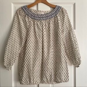 LOFT Boho Embroidered Top Print 3/4 Sleeve Small